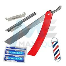 Professional BARBER Salon Straight CUT THROAT Shaving RAZOR +10 BLADES RED Steel