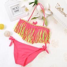 Hot Baby Girls Swimwear Summer Tassel Kids Swimsuit Bikini Set Red Nylon Spandex