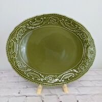 Canonsburg Pottery Company Regency Ironstone China Square Platter Green Vintage