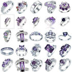 Chic Women 925 Sterling Silver Amethyst Rings Marriage Party Jewelry Decor #6-10