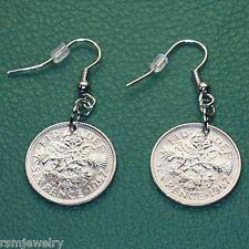 British Sixpence Coin Earrings, QE2  Lucky Wedding English UK