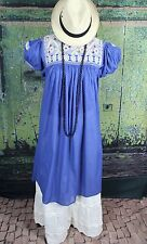 Blue & Cream Dress Hand Woven, Mayan Chiapas Mexico Hippie Santa Fe Cowgirl