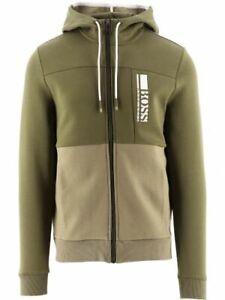 HUGO BOSS Men's Hooded Saggy Sweatshirt Cotton Green Regular Fit Zip Up Jacket
