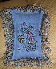 Hippie, Bohemian Blackwork Fancy Bird Denim Jean Pillow Gypsy,Upcycled, Shabby