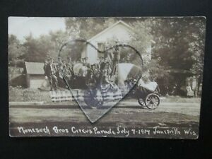 Postcard of Nonesuch Bros Circus Parade July 4 1914 Janesville WI