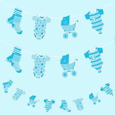 Baby Shower Laundry Line Bunting Garland Partyware Party Banner Decorations 2.5m Blue It's a Boy Christening Prams Socks Babygrow