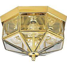 Progress Lighting P5789-10 Beveled Glass Outdoor Ceiling Light, Polished Brass