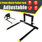 Adjustable 3Point Hitch Pallet Fork Attachment Category1 Quick Hitch Logs Field