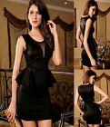 Sz M 10 12 Black Sleeveless Mesh Peplum Formal Dance Party Sexy Cocktail Dress