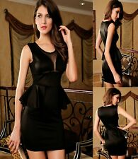Sz M 10 12 Black Sleeveless Mesh Peplum Formal Dance Party Sexy Cocktail Dress
