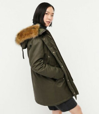 J Crew Perfect Winter Parka Women L Wild Olive Faux Fur Hood Large $350 EUC