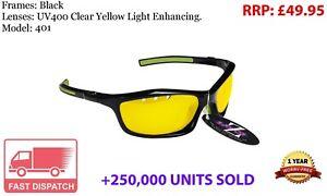 RayZor Black Sports Wrap Sunglasses Uv400 Light Enhancing Yellow Lens (40