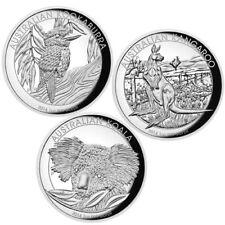 2014 Australia Kookaburra Kangaroo Koala Proof Silver High Relief 3-Coin Set
