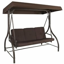 Brown 3 Seat Canopy Patio Swing Outdoor Home Furniture Cushions Garden Deck