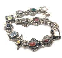 """Vintage Sterling Silver Bracelet 925 7.5"""" Deco Style Amethyst Peridot Garnet"""