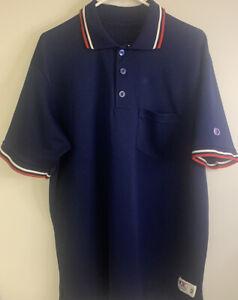 Cliff Keen Short Sleeve Umpire Polo Shirt Jersey Men's XL - Navy Blue w/ Red Wht