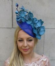 Teal Royal Blue Orchid Flower Saucer Sinamay Disc Hat Fascinator Headband 6024