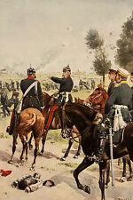 C. Becker 1897: Farblithographie König Wilhelm mit seinem Stabe bei Gravelotte