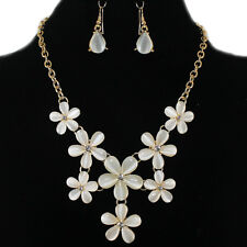 Cream Gold Mother of Pearl Flower Rhinestone Statement Necklace Earrings Set
