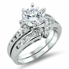 .925 Sterling Silver Wedding Set CZ Engagement Ring Ladies Bridal Size 7 New z42