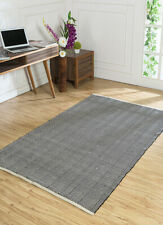 Indian Flat Weaves Grey and Black Cotton Solids Pattern 4'x6' Solids Area Rug