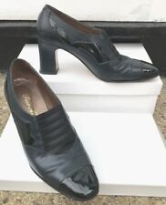 1980s REAL VINTAGE Paco Molina 4 + BOX Navy Patent Patten Shoes victorian court