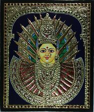 Tanjore Adi Parashakti Painting Handmade Indian Thanjavur Wall Decor Gold Art