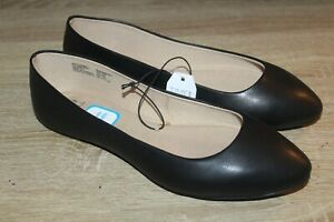 NEW Time And Tru Women's Ballet Flats Wide Width in Black Casual Slip On Shoes