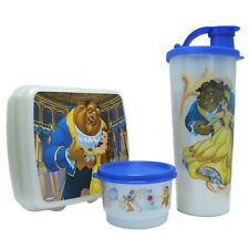 Tupperware Disney Beauty and the Beast Lunch Set 3 pc Tumbler Sandwich Snack