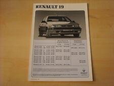 50655) Renault R 19 Phase II inkl. 16V 135PS Preise & Extras Prospekt 11/1992
