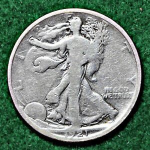 1921-D WALKING LIBERTY HALF DOLLAR in VERY GOOD (VG) CONDITION