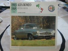CARTE FICHE AUTO – ALFA ROMEO GIULIA 1600 SS