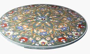 "36"" Green Marble Table Top Semi Precious Stone Inlay Handicraft Work"