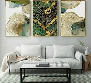 Abstract Painting Golden Leaf Vein Tableaux Poster HD Wall Art Living Room Decor