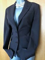 Plain Karen Millen UK 10 Brown Tailored Classic Work Office Blazer Jacket EU 38