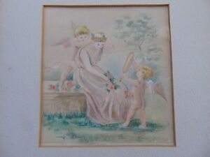 ANTIQUE WATERCOLOR PAINTING of YOUNG WOMAN with CHERUBS / PUTTI /ANGEL