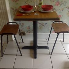 SMALL INDUSTRIAL BISTRO DINING TABLE METAL TRIM CAST IRON FEET - HOME CAFE BAR