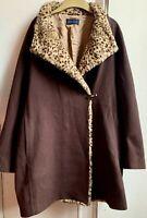 Fab *WINDSMOOR* Faux Leopard Fur Brown Wool Cashmere Coat Jacket 14