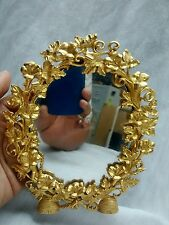 Stunning Joan Rivers ornate leaves gold tone oval table stand mirror
