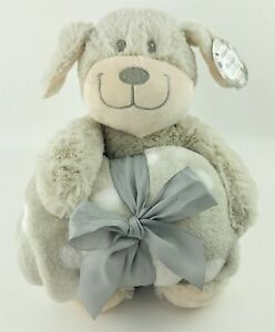 """Silver One Kids Plush Dog & Blanket 2 pc Gift Set with 30""""x40"""" Throw Blanket"""