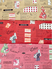 Vintage Inspired Sewing Theme Fabric By the Half yard Yuwa Fabric