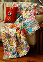 Indian Handmade Patchwork Cotton Paisley Bed Decorative Sofa Throw
