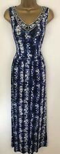 V By Very Maxi Dress Blue White Tie Dye Jersey Stretch Beaded Neck Size 16 BNWTS