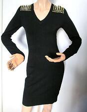 Michael Kors Black Knit Gold Square Shoulder Studs Sweater Dress XS