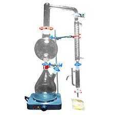 Lab Essential Oil Steam Distillation Apparatus Glassware W/graham Condenser