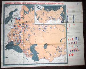 6318 SOVIET UNION  LARGE POSTER PARTY/ Industrial SOVIET UNION 1921-25 cir 1984