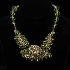 MIRIAM HASKELL Large green cxrystal bead necklace with metal leaf & ... Lot 124