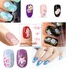 stickers adesivi FIORI BIANCHI decalcomanie TATTOO ricostruzione unghie nail art