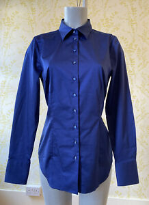 HAWES & CURTIS navy blue stretch cotton fitted shirt blouse UK 14 contrast cuffs
