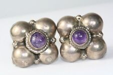 VINTAGE MEXICAN STERLING SILVER AMETHYST SCREW EARRINGS MEXICO